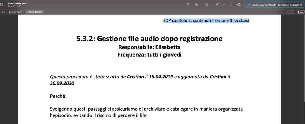 SOP procedure standard ambito titolo e perché