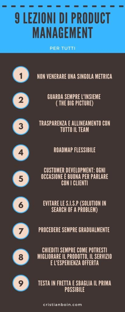 9 lezioni di product management infografica