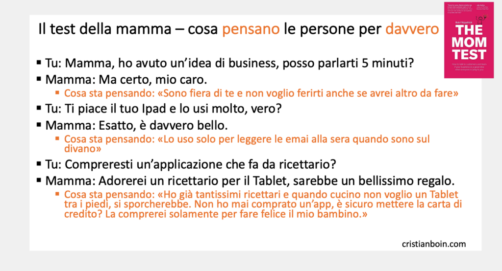The mom test il test della mamma cristian boin startup product management customer development