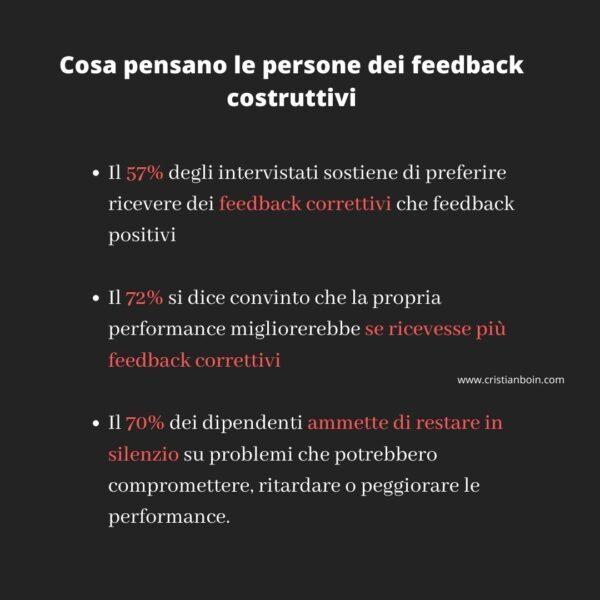 cosa pensano le persone dei feedback costruttivi
